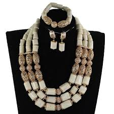 african jewelry necklace set images Gorgeous women white beads african jewelry sets chunky bib jpg