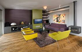 split complementary color scheme living room midcentury with