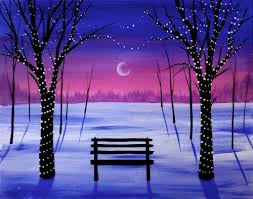 learn to paint winter tree lights