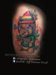 eljefetattoos rasta bear sublime weed teddy bear color rasta new