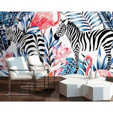 zebra and flamingo wall mural wals0213 the home depot null zebra and flamingo wall mural