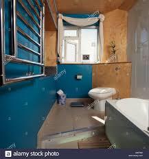 toilet on raised floor in blue bathroom with cork wall stock photo