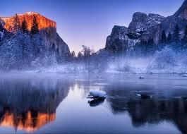 apple yosemite wallpaper photographer photography nature landscape winter river mist snow forest sunset