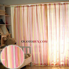 Striped Yellow Curtains Pink And Yellow Striped Pattern Cotton Modern Style Lined Curtain