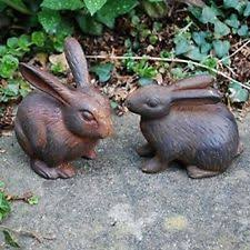 rabbits iron garden statues lawn ornaments ebay