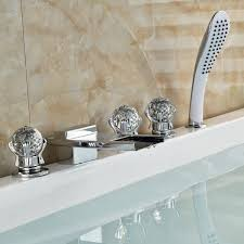 pull out bathtub faucet paris crystal handle chrome finish waterfall bathtub faucet with