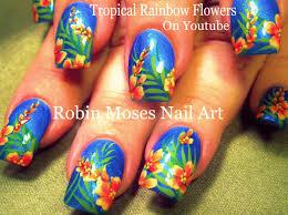 rainbow nail art tropical long nails design tutorial youtube