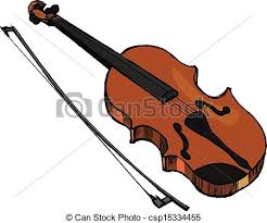 clipart vector of violin musical instrument hand drawn vector
