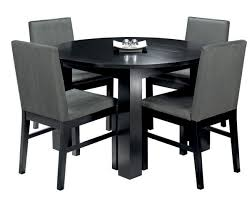 Cuba Black Circular Dining Table   Upholstered Dining Chairs - Black kitchen table