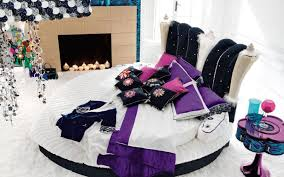 Bedroom Ideas With Purple Carpet Round White Bed With Purple Pillows And Black Cushions Connected