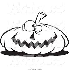 vector of a cartoon nearly flat jackolantern halloween pumpkin