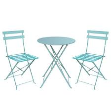 Green Bistro Chairs Hollyhome Outdoor Balcony Folding Steel Bistro Furniture Sets