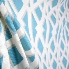 Geometric Drapery Fabric P Kaufman Elton Turquoise Blue White Geometric Trellis Cotton