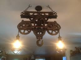 Pulley Island Light Antique Hay Trolley Hanging Island Cage Lighting Made From An