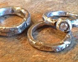 artisan wedding rings rustic wedding rings unique engagement set artisan