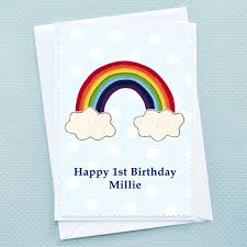 rainbow u0027 personalised girls birthday card by jenny arnott cards