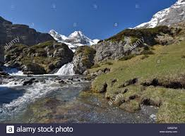 torrent with the waterfalls on the plateau maillet stock photo