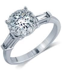 Costco Wedding Rings by Round Brilliant U0026 Baguette 1 27 Ctw Vs2 I Diamond Platinum Ring