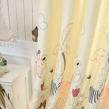 yellow zoo patterned kids nursery curtains