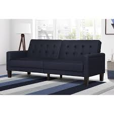 Button Tufted Sofas by Navy Linen Fabric Button Tufted Futon Sofa Homebody U0027s