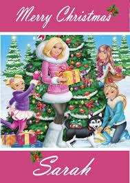 personalised barbie christmas card