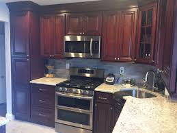 Tops Kitchen Cabinets by Cherry Cabinets Granite Tops Kitchen Remodeling Long Island