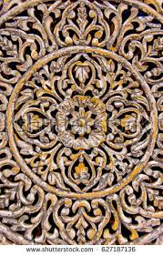 wood carving floral motifs ornaments decoration stock photo