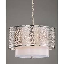 3 light contemporary white shade satin nickel chandelier free