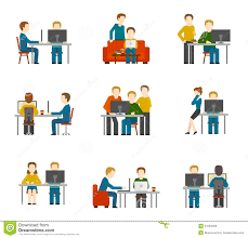 coworking center icons stock vector image 51554555