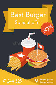 vector illustration of isometric food burger french fries stock