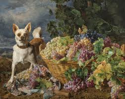Ferdinand Georg Waldmüller Dog Guarding a Basket of Grapes with a