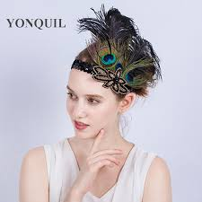feather hair accessories multi colors peacock feathers hair accessories black sequin
