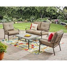 Lacks Outdoor Furniture by Mainstays Charleston Park 4 Piece Patio Set Brown Walmart Com