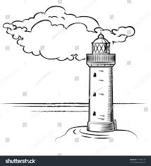 lighthouse day big cloud drawn stock vector 117452119 shutterstock