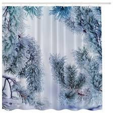 Tree Curtain Icy Pine Tree In Winter Snow Fabric Shower Curtain Traditional