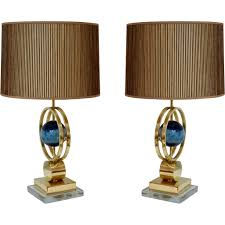 italian modern pair of brass lamps with whole round agate stones