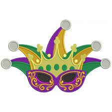 jester mardi gras mask mardi gras filled machine embroidery design digitized pattern