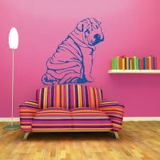 Dog Themed Home Decor Shar Pei Sharpei Vinyl Wall Sticker Canine Animal Themed Decals