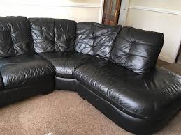 Black Leather Swivel Chairs Dfs Black Leather Corner Sofa Swivel Chair And Footstool In