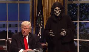 snl opening scene trump and bannon in a skeleton costume in the