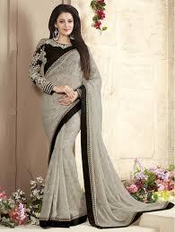 saree blouse smoke color embroider designer model saree blouse design
