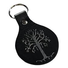 lord of the rings white tree of gondor leather keyring zing