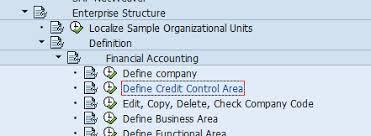 controlling definition define credit control area sap transaction code ob45