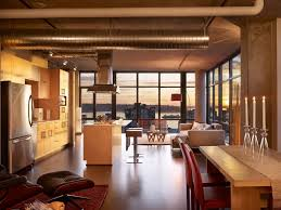 modern small loft studio interior design with sectional sofa