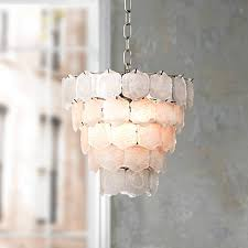 White Small Chandelier Capiz Style White Glass Chip 12 Wide Small Chandelier 57392