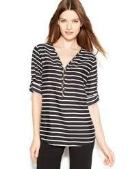 calvin klein blouses calvin klein roll tab sleeve striped blouse tops macy s