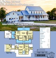 farmhouse floor plans with wrap around porch plan 31528gf modern farmhouse plan with wrap around porch and