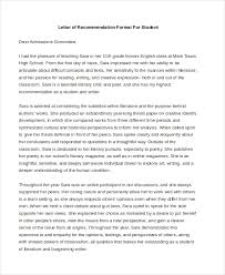 letter of recommendation format sle recommendation letter format 8 free documents in pdf doc
