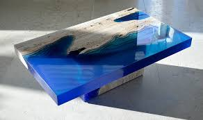 How To Make An Engine Coffee Table Cut Travertine Marble And Resin Merge To Create U0027lagoon U0027 Tables