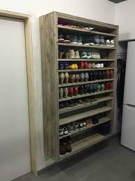 Diy Shelves Garage by Make For Jenna U0027s Closet Shoe Rack From Pallets And Planks Roughly